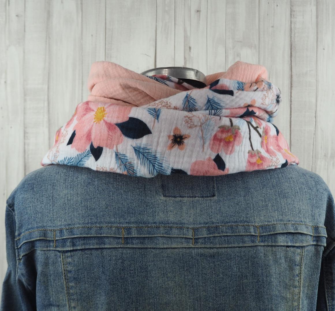 Tuch Dreieckstuch aus Musselin mehrfarbig Blütenzweige