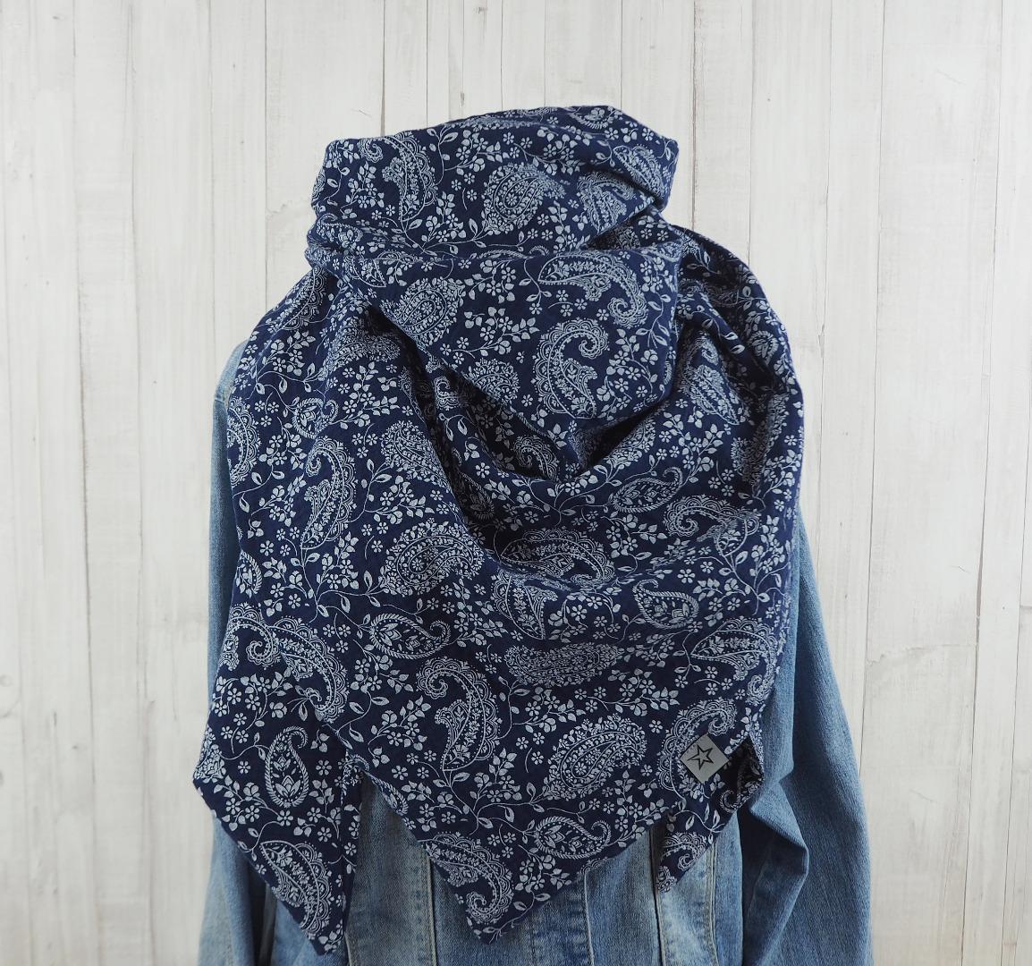 Tuch dunkelblau mit Paisleymuster Dreieckstuch Musselin