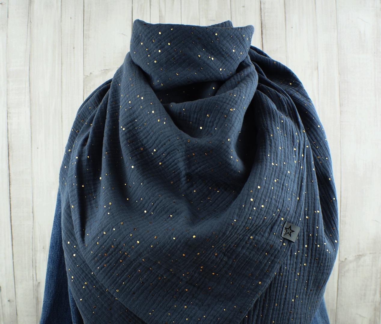 Tuch Dreieckstuch Musselin Damen Schal dunkelgrau