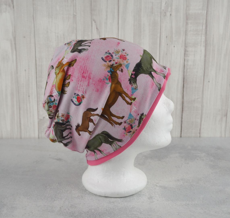 Beanie Mädchen Pferde rosa Größe ca
