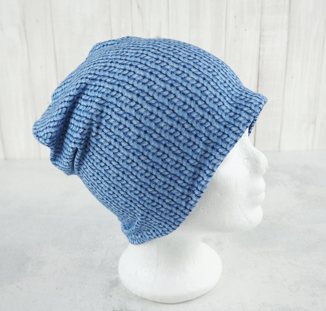 Beanie Mädchen hellblau Strickmuster Beanie genäht