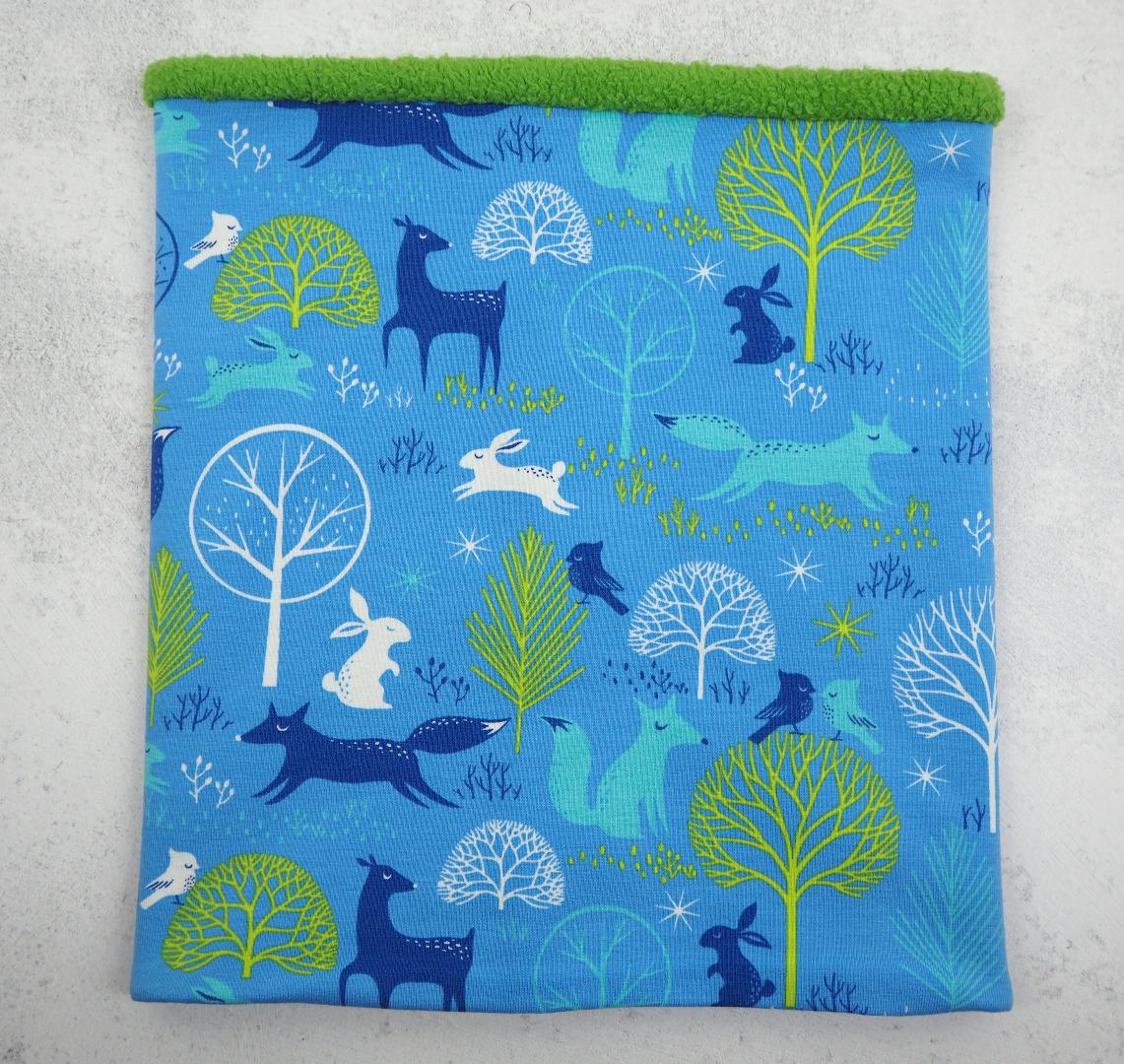 Schlupfschal Kinder blau grün Tiere Loop