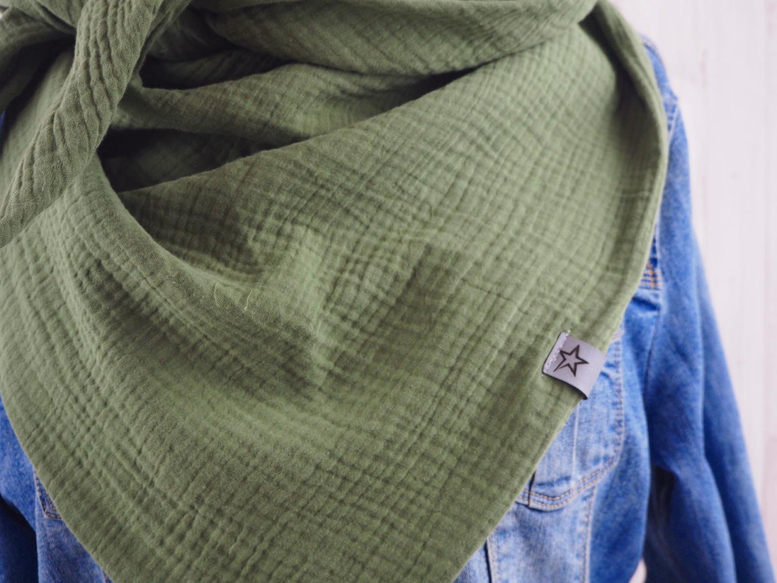 Tuch Dreieckstuch Musselin Damen Schal khaki
