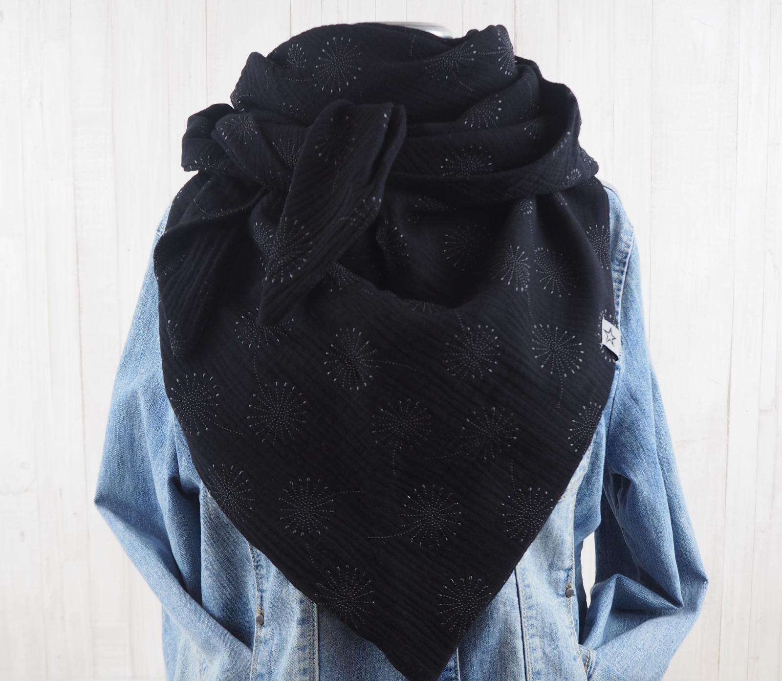 Tuch Dreieckstuch Musselin schwarz mit Pusteblumen