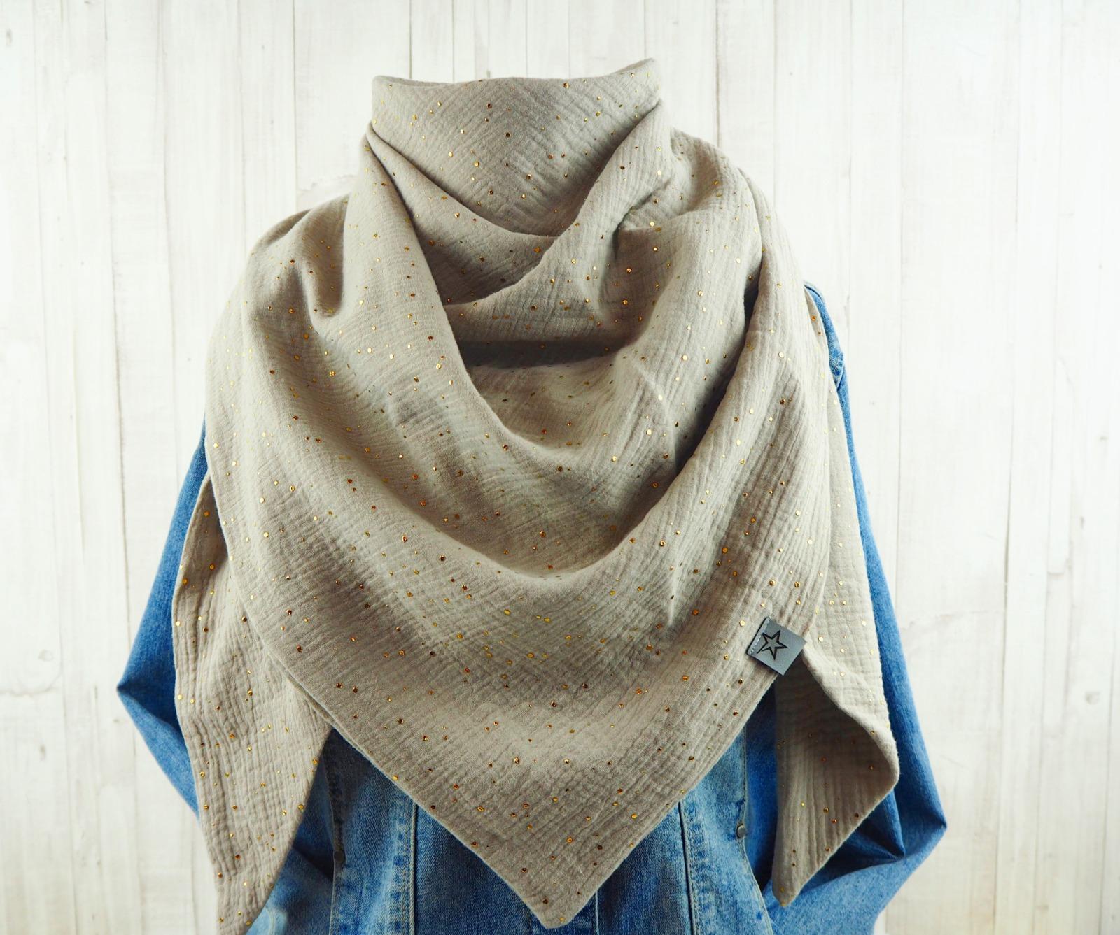 Tuch Dreieckstuch Musselin Damen Schal sand