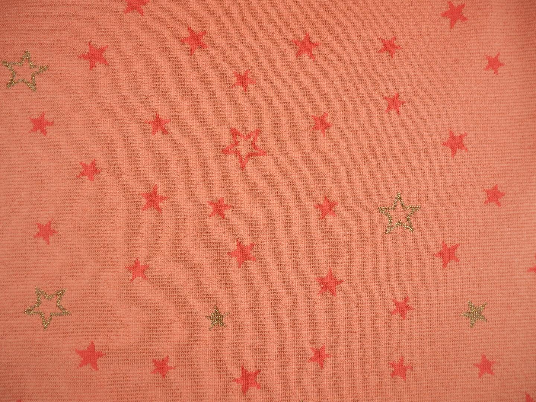 Jaquardstrick lachs und gold mit Sternen