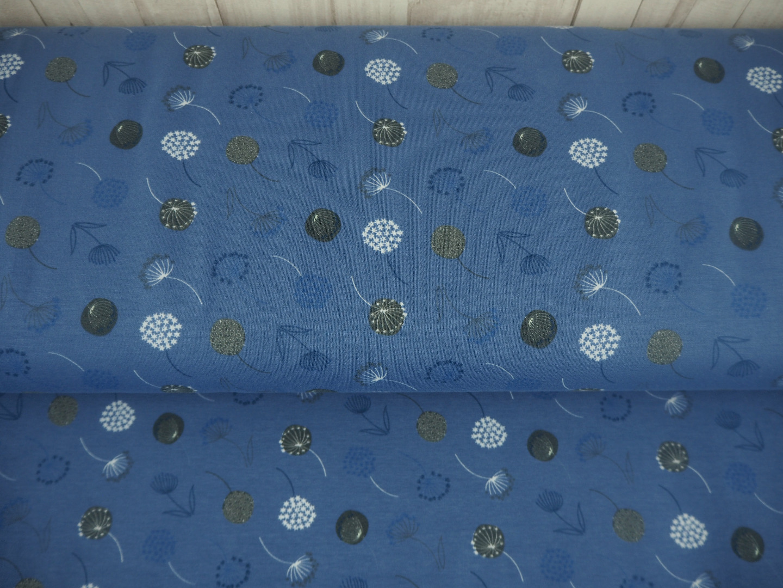 Jersey Pusteblumen EUR/m blau blaugrau taubenblau