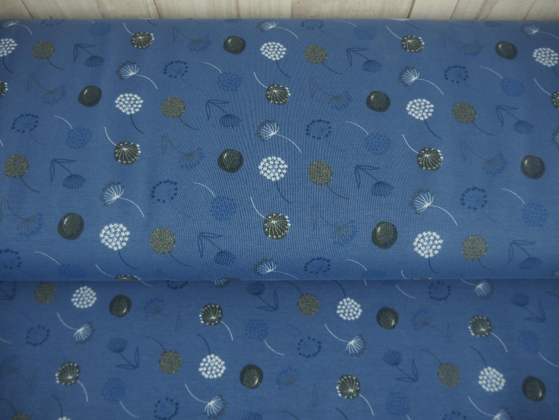 Jersey Pusteblumen 14,40 EUR/m blau blaugrau taubenblau - Stoff Meterware Damen - 2
