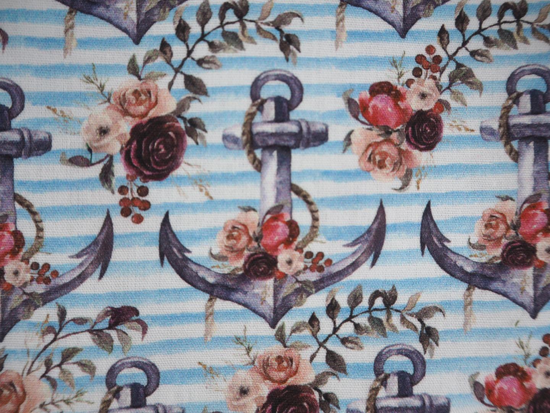 Baumwolle Anker und Rosen hellblau weiß
