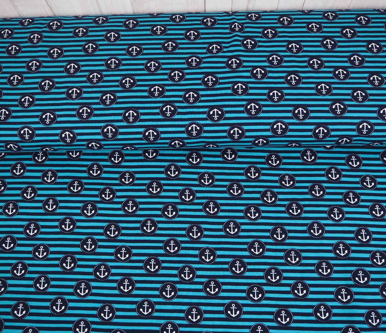 Jersey Anker Streifen Ankerjersey petrol blau