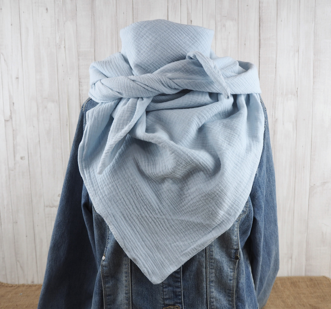 Tuch Dreieckstuch Musselin Damen Schal eisblau