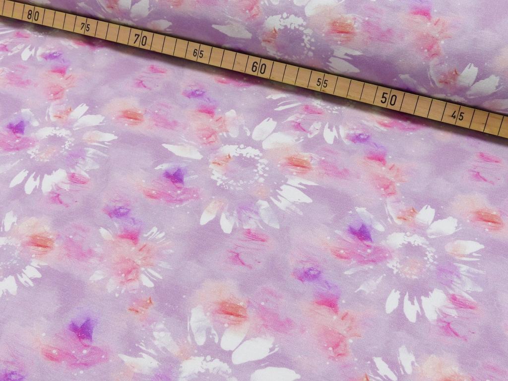 Jersey EUR/m Batik Blumen Druck rosa
