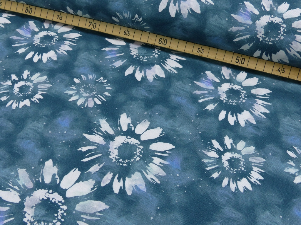 Jersey EUR/m Batik Blumen Druck blau
