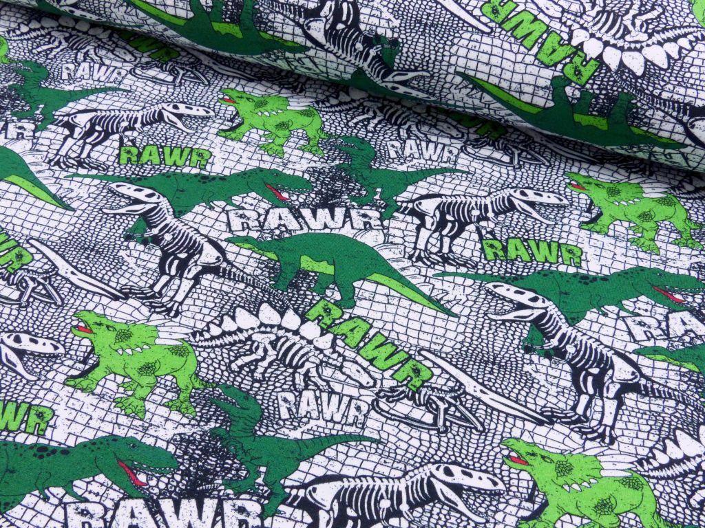 Baumwolljersey EUR/m Dino Hintergrund Dinoschuppen bedruckt