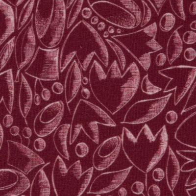 Sweat Undone by CherryPicking Swafing beere / bordeaux / weinrot Modalsweat mit schraffierten Blumen in Kreideoptik