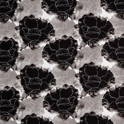 Sommersweat Blumen schwarz weiß grau Swafing