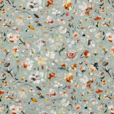 Musselin EUR/m Digitaldruck Blumen auf altmint
