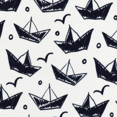 Jersey EUR/m Boote auf weiß Swafing
