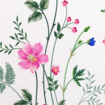 Jersey EUR/m zarte Blumen auf weiß