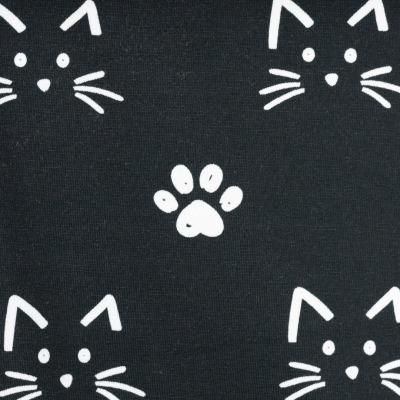 Jersey EUR/m Katzen weiß auf schwarz