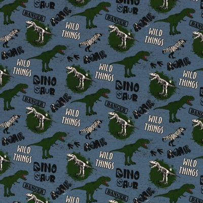 Baumwolljersey EUR/m Dino Jersey rauchblau bedruckt