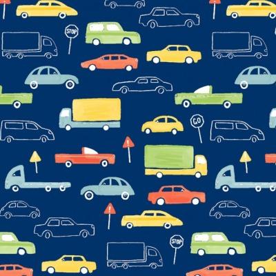 Jersey Autos 12,40 EUR/m, Jersey blau mit bunten Autos und Verkehrsschildern, Stoff Jersey Kinderstoff Kinderjersey für Jungen, Meterware