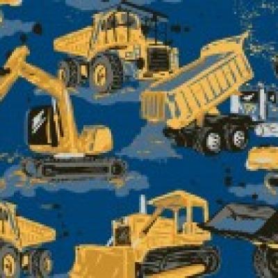 Jersey 14,40 EUR/m Baufahrzeuge, Jersey für Jungen, gemustert mit Baufahrzeugen, Baustelle Bagger blau, Kinderjersey Meterware