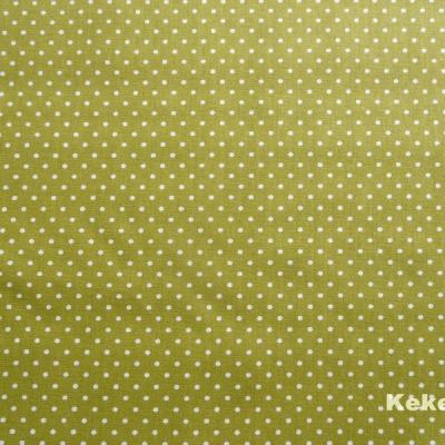 Reststück Bauwolle Webware Pünktchen kiwi weiß