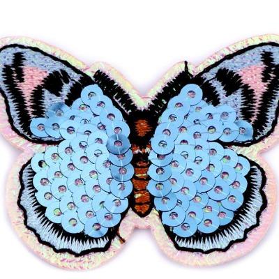 Aufbügler Schmetterling rosa hellblau mit Pailletten