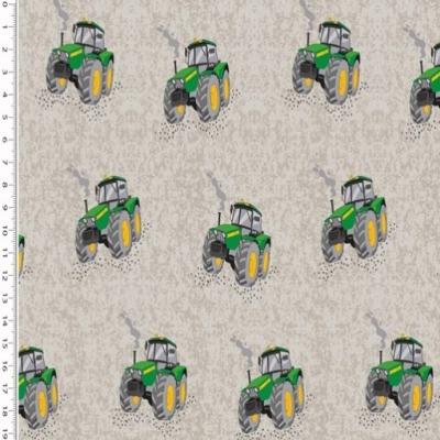 Baumwolle Trecker Traktor auf grau meliert