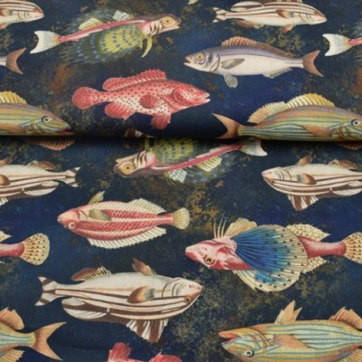 Taschenstoff Fische auf blau Dekostoff groß