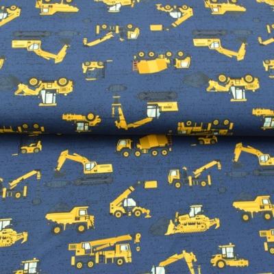 Baumwolljersey EUR/m Baufahrzeuge Jersey blau bedruckt
