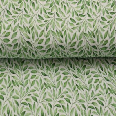 Musselin EUR/m Druck Blätter auf weiß