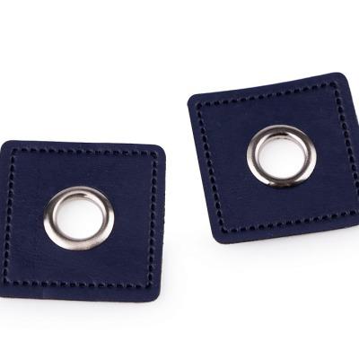 Ösenpatch Kunstleder dunkelblau silber Durchmesser Öse