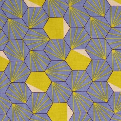 Canvas EUR/m Taschenstoff jeansblau lila gelb