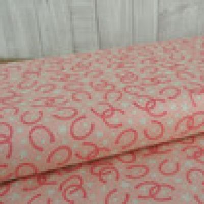 Reststück Riley Blake Rodeo Rider Hufeisen Sterne pink rosa - Reststück 0,70 m