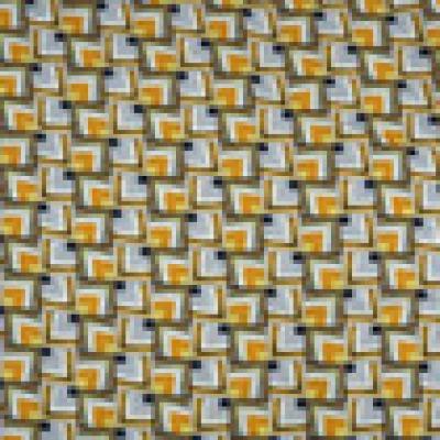 Reststück Viskose Blusenstoff Viskosevoile Retro grau gelb - Reststück 0,70 m