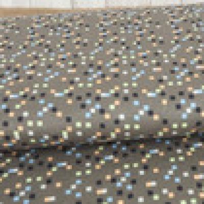 Reststück Jersey Viskosejersey schlamm Quadrate Retro