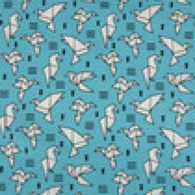 Reststueck Jersey tuerkis aqua Origami Tiere Tangram Falttiere - Reststueck 0 30 m