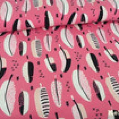 Reststück Jersey rosa Federn - Reststück