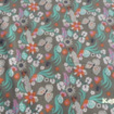 Reststück Sweat Freren taupe grau graubraun Blumen Federn - Reststück 0,65 m