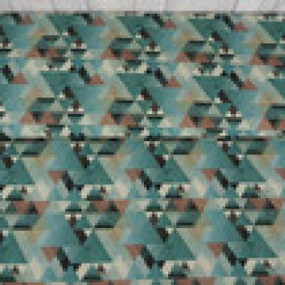Reststueck Baumwolle Webware Dreiecke grau braun Ethno - Reststueck 1 m