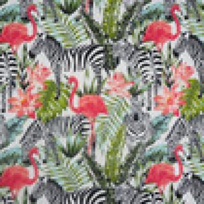 Reststück Baumwolle Webware Zebras Flamingos Reststück
