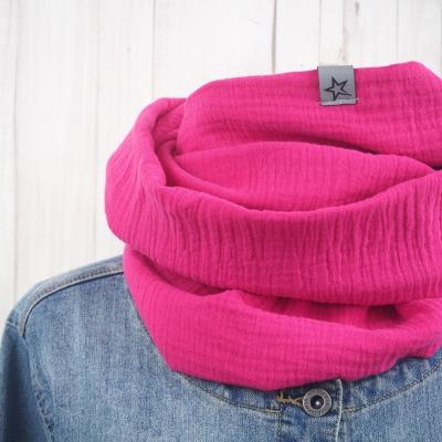 Loop Musselin Damen Loopschal pink Versandkostenfreier