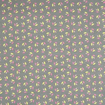 Jersey EUR/m Blümchendruck auf grau Stoffe