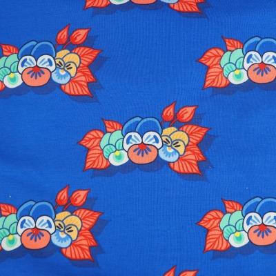 French Terry EUR/m Stiefmütterchen auf blau