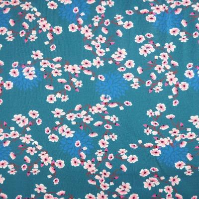 Jersey EUR/m Kirschblüten auf petrol Damenstoff