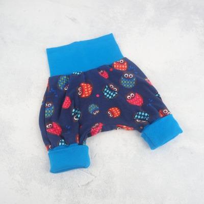 Pumphose Baby Eulen blau mit Bündchen