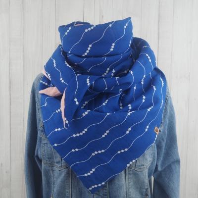 Tuch Dreieckstuch Musselin Damen Schal blau
