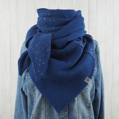 Dreieckstuch aus Musselin im Mustermix jeansblau